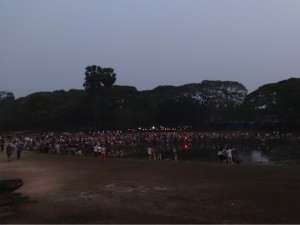 Tourists gathered at Angkor Wat for sunrise.