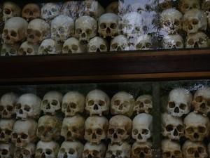 Victims' skulls in Memorial Tower