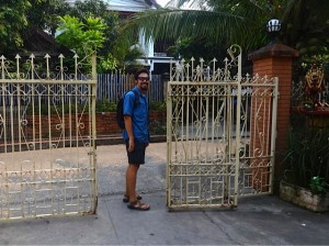 Colin at the guesthouse gate