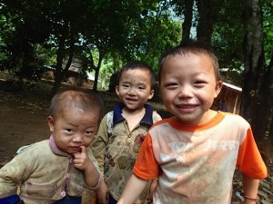 Children at the hill tribe village