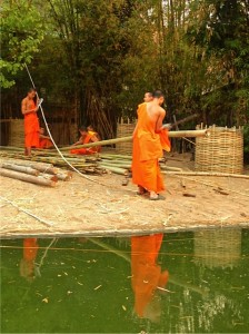 Monks making wicker from bamboo
