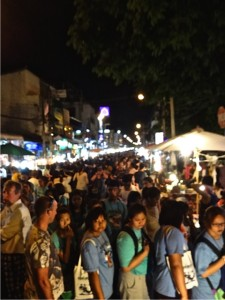 Crowds at the Sunday night market