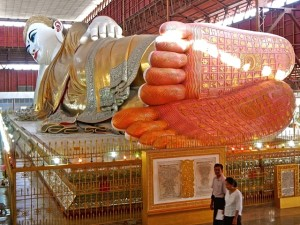 Buddha's feet engraved with over 100 auspicious symbols