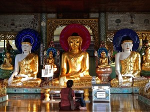 Woman worships before several Buddha statues with flashing LED halos.