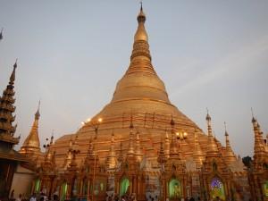 "Main Structure at Shwedagon Pagoda with ""Vegas Buddhas"" at Base"